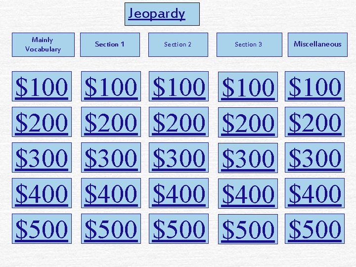 Jeopardy Mainly Vocabulary Section 1 Section 2 Section 3 $100 $200 $300 $400 $500