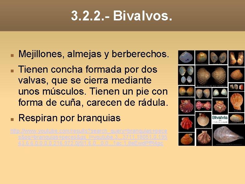 3. 2. 2. - Bivalvos. Mejillones, almejas y berberechos. Tienen concha formada por dos