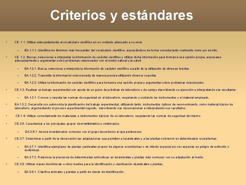 Criterios y estándares • CE. 1. 1. Utilizar adecuadamente el vocabulario científico en un