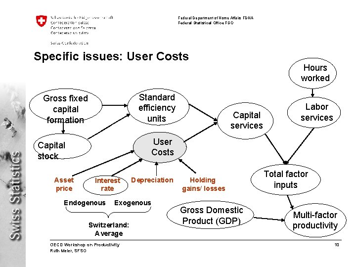 Federal Department of Home Affairs FDHA Federal Statistical Office FSO Specific issues: User Costs