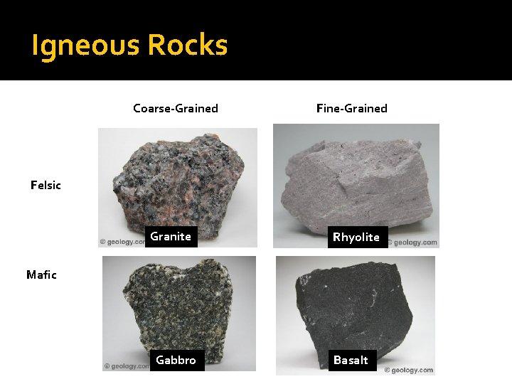 Igneous Rocks Coarse-Grained Fine-Grained Felsic Granite Rhyolite Mafic Gabbro Basalt