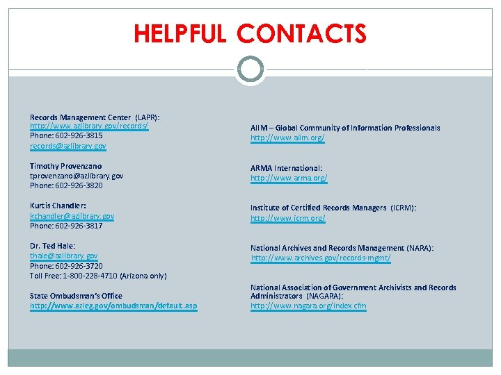 HELPFUL CONTACTS Records Management Center (LAPR): http: //www. azlibrary. gov/records/ Phone: 602 -926 -3815