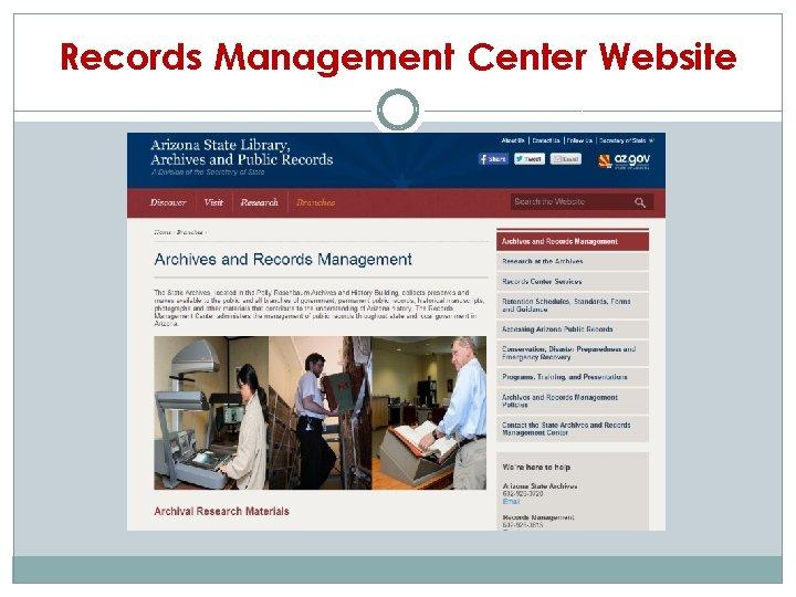 Records Management Center Website