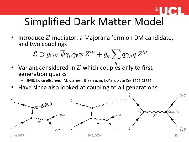 Simplified Dark Matter Model • Introduce Z' mediator, a Majorana fermion DM candidate, and