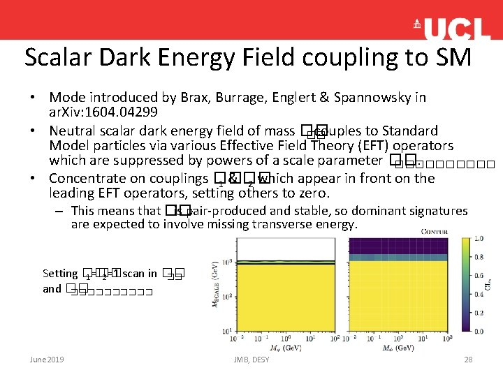 Scalar Dark Energy Field coupling to SM • Mode introduced by Brax, Burrage, Englert