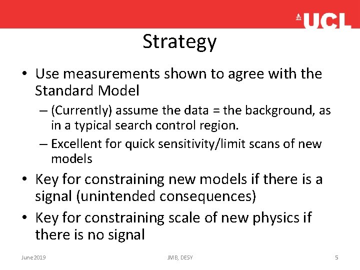 Strategy • Use measurements shown to agree with the Standard Model – (Currently) assume