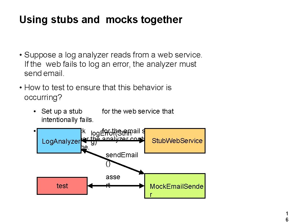 Using stubs and mocks together • Suppose a log analyzer reads from a web