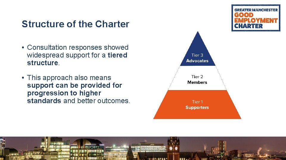 Structure of the Charter • Consultation responses showed widespread support for a tiered structure.