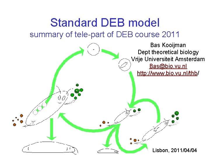 Standard DEB model summary of tele-part of DEB course 2011 Bas Kooijman Dept theoretical