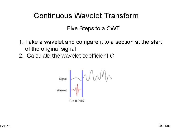 Continuous Wavelet Transform Five Steps to a CWT 1. Take a wavelet and compare