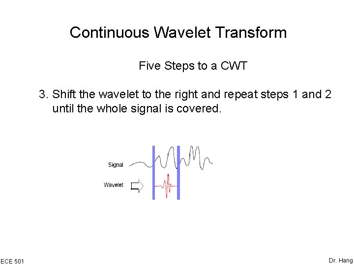 Continuous Wavelet Transform Five Steps to a CWT 3. Shift the wavelet to the