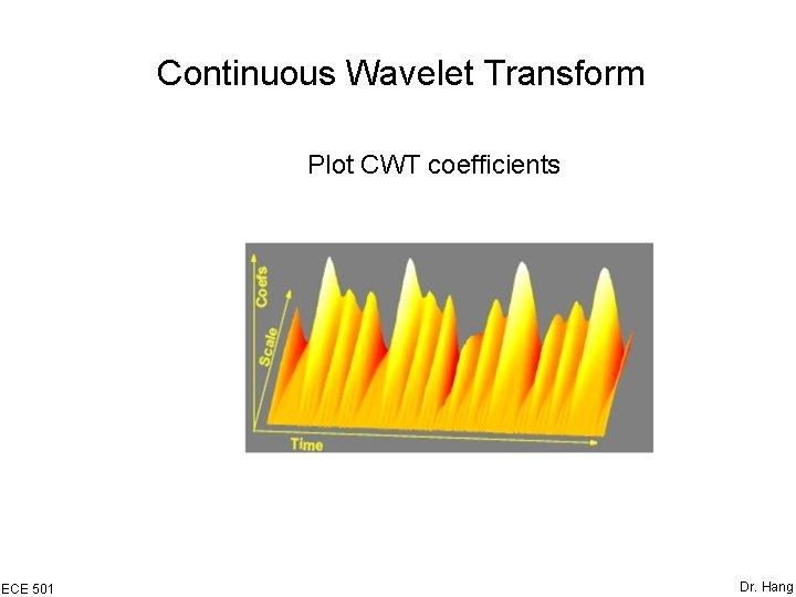 Continuous Wavelet Transform Plot CWT coefficients ECE 501 Dr. Hang