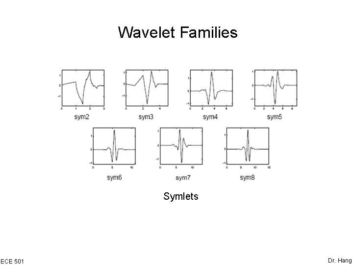 Wavelet Families Symlets ECE 501 Dr. Hang