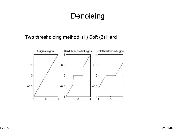 Denoising Two thresholding method: (1) Soft (2) Hard ECE 501 Dr. Hang
