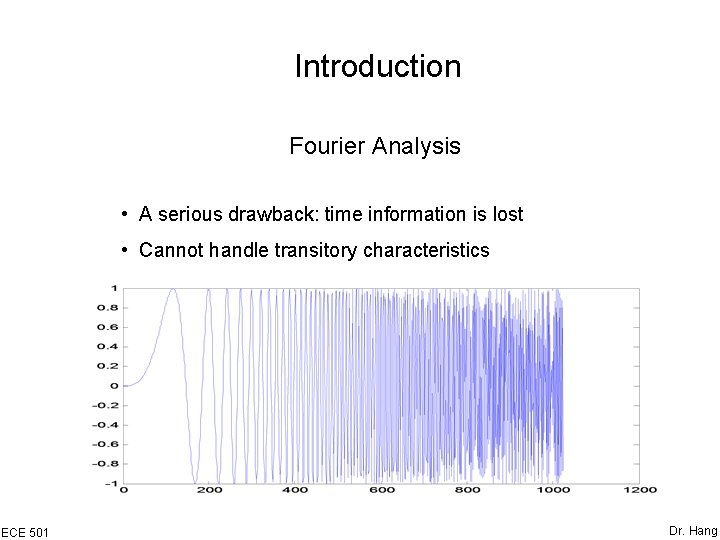 Introduction Fourier Analysis • A serious drawback: time information is lost • Cannot handle