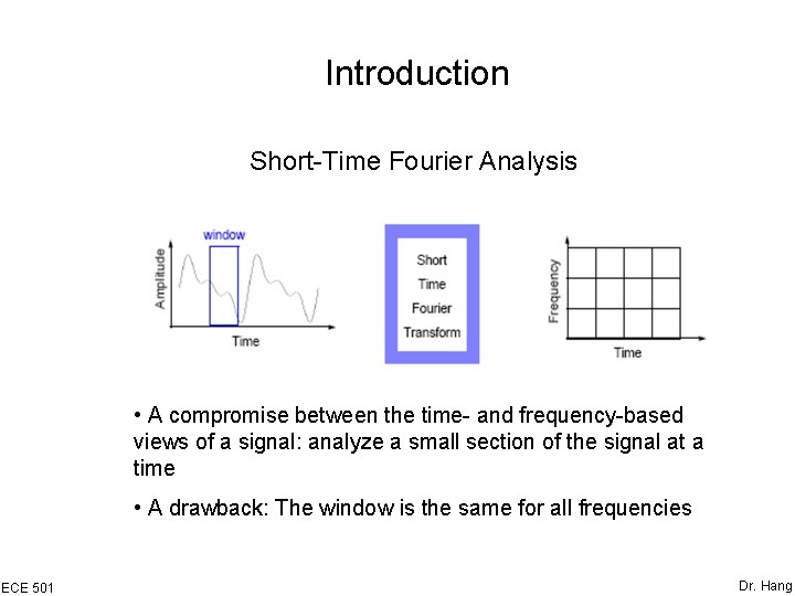 Introduction Short-Time Fourier Analysis • A compromise between the time- and frequency-based views of