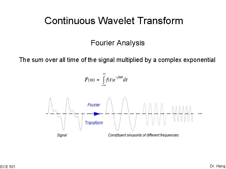 Continuous Wavelet Transform Fourier Analysis The sum over all time of the signal multiplied