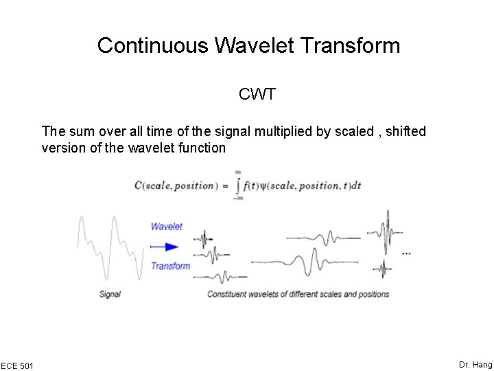 Continuous Wavelet Transform CWT The sum over all time of the signal multiplied by