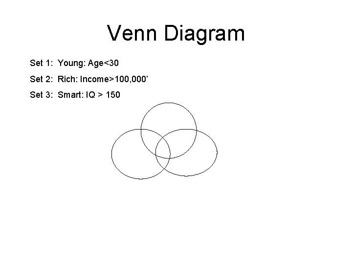 Venn Diagram Set 1: Young: Age<30 Set 2: Rich: Income>100, 000' Set 3: Smart: