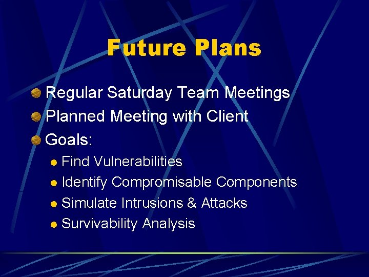 Future Plans Regular Saturday Team Meetings Planned Meeting with Client Goals: Find Vulnerabilities l
