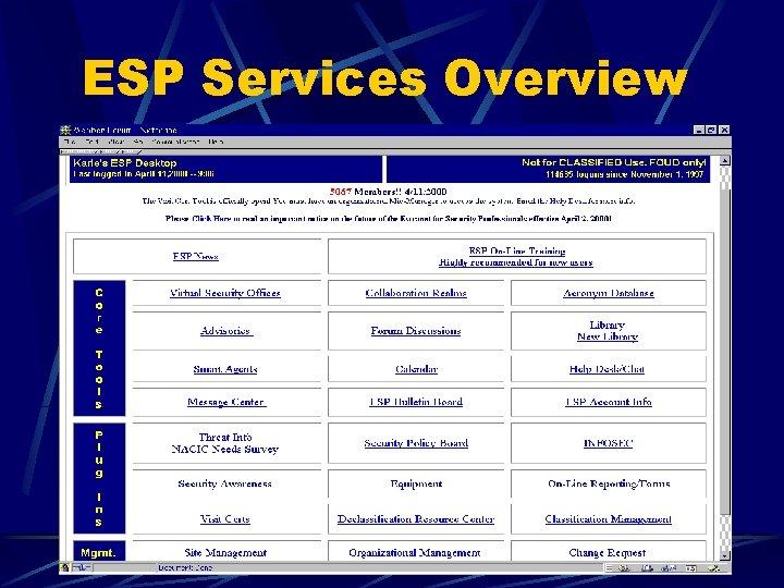 ESP Services Overview