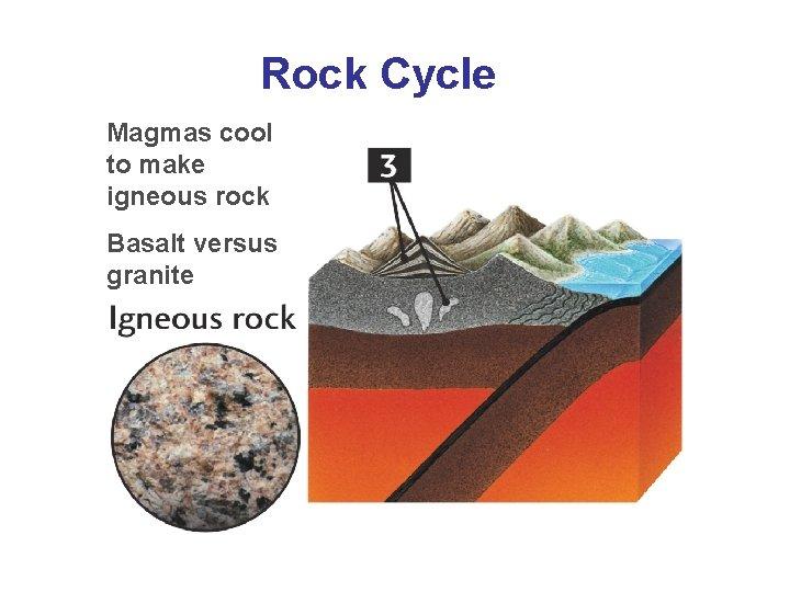 Rock Cycle Magmas cool to make igneous rock Basalt versus granite