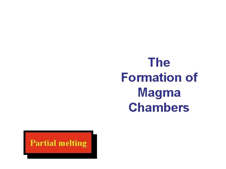 The Formation of Magma Chambers Partial melting