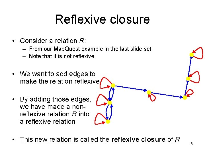 Reflexive closure • Consider a relation R: – From our Map. Quest example in