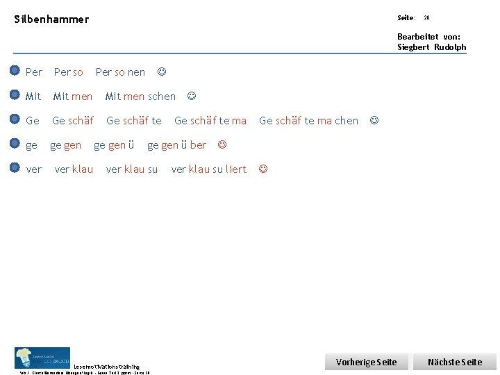 Übungsart: Silbenhammer Seite: 20 Bearbeitet von: Siegbert Rudolph Per so Mit men schen Ge