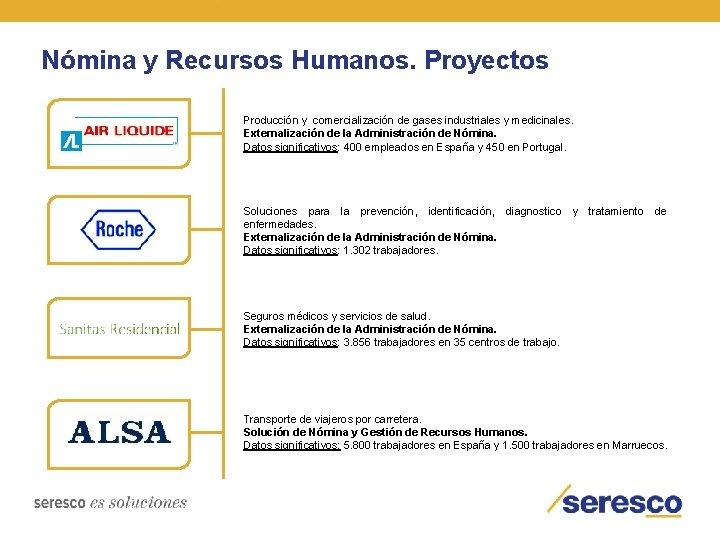 Nómina y Recursos Humanos. Proyectos Producción y comercialización de gases industriales y medicinales. Externalización