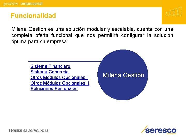 Funcionalidad Milena Gestión es una solución modular y escalable, cuenta con una completa oferta