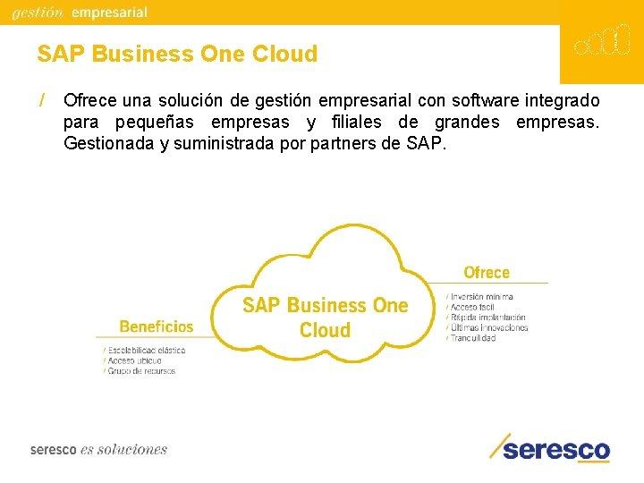 SAP Business One Cloud / Ofrece una solución de gestión empresarial con software integrado