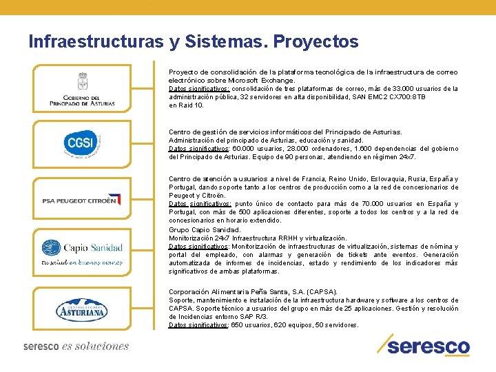 Infraestructuras y Sistemas. Proyectos Proyecto de consolidación de la plataforma tecnológica de la infraestructura