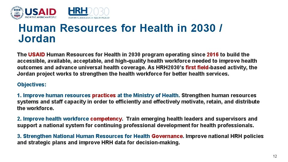 Human Resources for Health in 2030 / Jordan The USAID Human Resources for Health