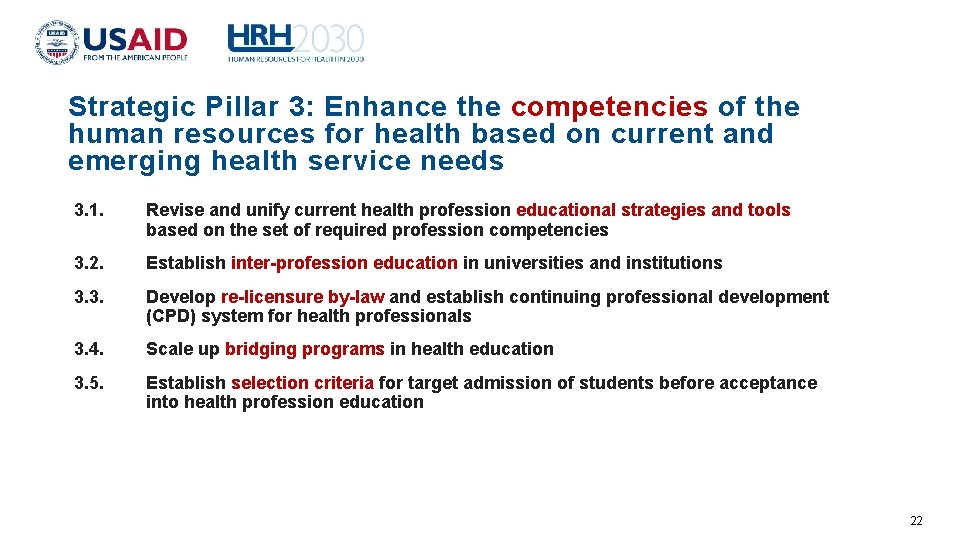 Strategic Pillar 3: Enhance the competencies of the human resources for health based on