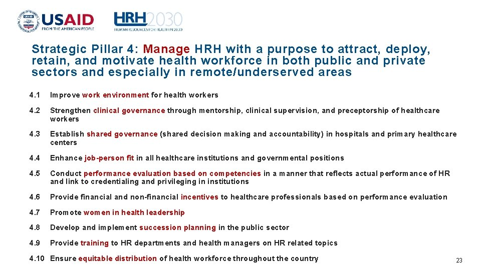 Strategic Pillar 4: Manage HRH with a purpose to attract, deploy, retain, and motivate