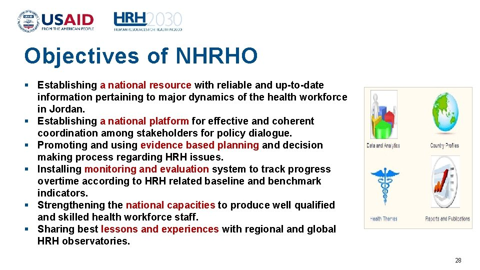 Objectives of NHRHO Establishing a national resource with reliable and up-to-date information pertaining to