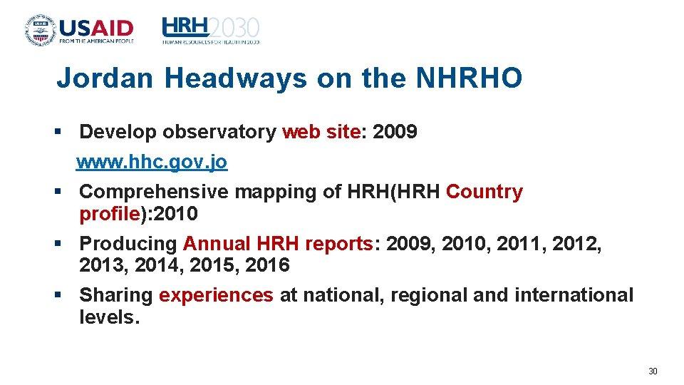 Jordan Headways on the NHRHO Develop observatory web site: 2009 www. hhc. gov. jo