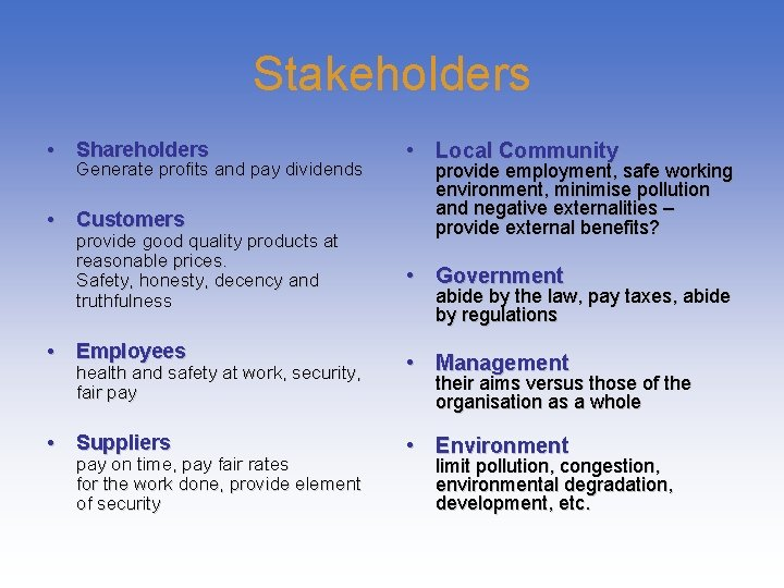 Stakeholders • Shareholders Generate profits and pay dividends • Customers provide good quality products