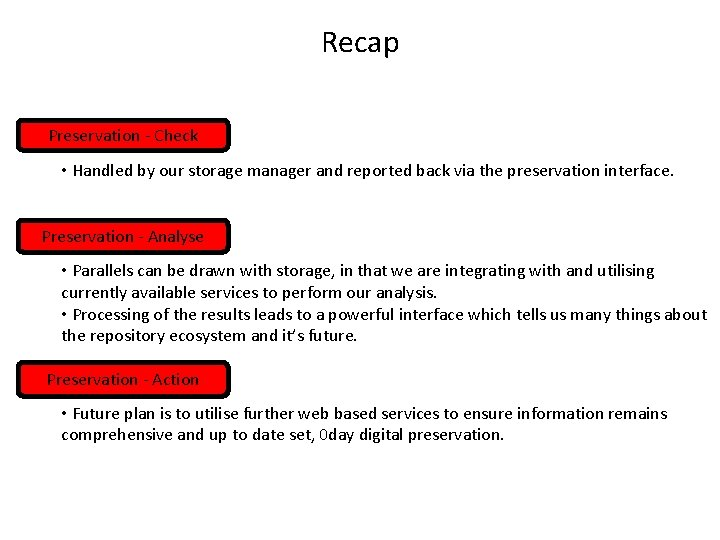 Recap Preservation - Check • Handled by our storage manager and reported back via