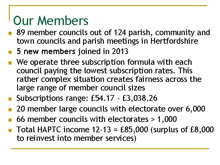 Our Members n n n n 89 member councils out of 124 parish, community