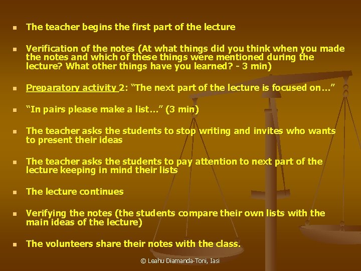 n n The teacher begins the first part of the lecture Verification of the