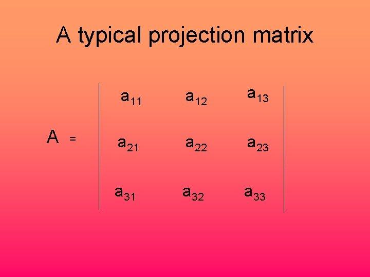 A typical projection matrix A = a 11 a 12 a 13 a 21