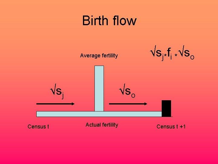 Birth flow √sj*fi *√so Average fertility √sj Census t √so Actual fertility Census t