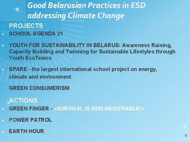 Good Belarusian Practices in ESD addressing Climate Change PROJECTS § SCHOOL AGENDA 21 §