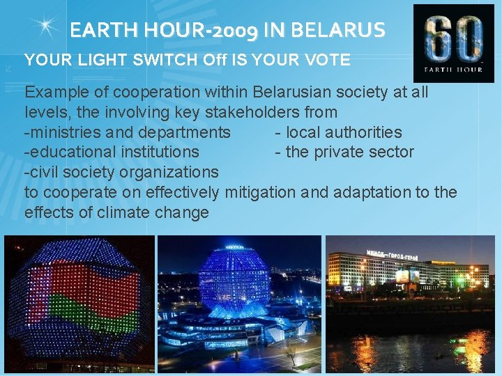 EARTH HOUR-2009 IN BELARUS YOUR LIGHT SWITCH Off IS YOUR VOTE Example of cooperation