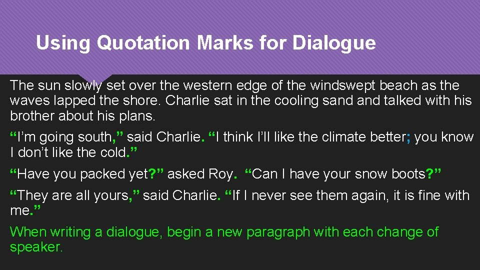Using Quotation Marks for Dialogue The sun slowly set over the western edge of