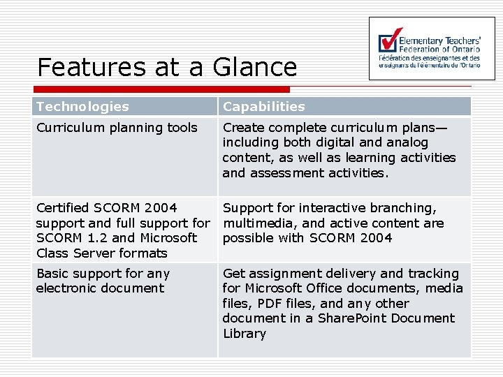 Features at a Glance Technologies Capabilities Curriculum planning tools Create complete curriculum plans— including