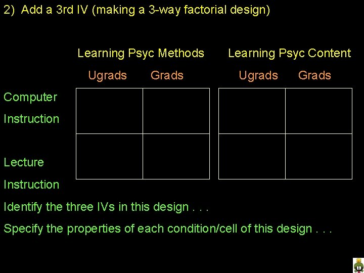 2) Add a 3 rd IV (making a 3 -way factorial design) Learning Psyc