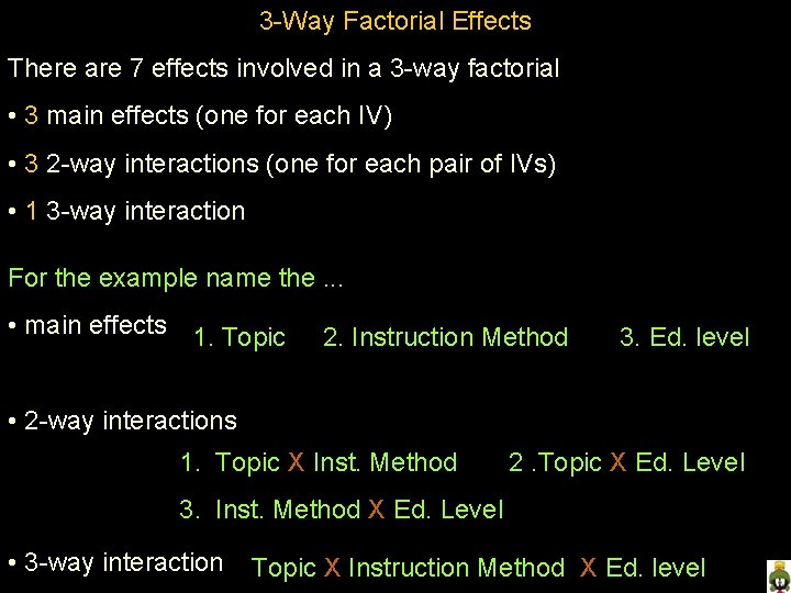 3 -Way Factorial Effects There are 7 effects involved in a 3 -way factorial